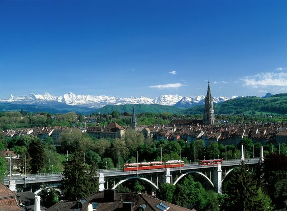 View of the old town and the Alps from the Kursaal in Berne